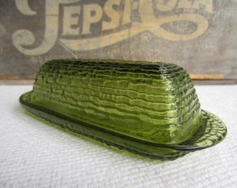 Vintage Avocado Green Glass Butter Dish Soreno Ripple by Anchor Hocking