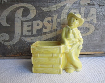Vintage Western Cowboy Planter Pencil Paint Brush Holder