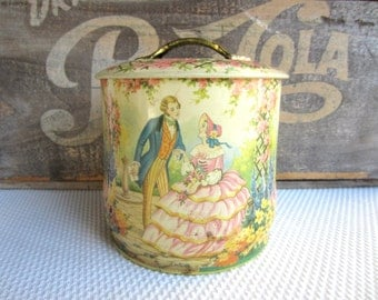 Vintage Murray Allen Regal Crown Courting Couple Floral Confectin Tin Cottage Chic Decor