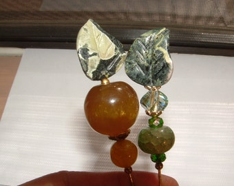 """HATPINS- ORGANIC COMBO-my own designs- sweet carved leaves- real gemstone agates - vintage cut crystals 8"""" pins"""