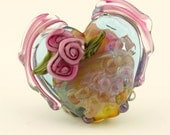 Lampwork Glass Focal Winged Heart Bead, Iridescent Pink Purple Blue  SRA
