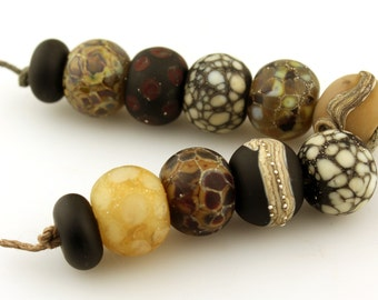 Reserved, Lampwork Beads Set  Organic, Etched Matte Gray, Brown, Black, Silver, Ivory  'Summer Neutrals'
