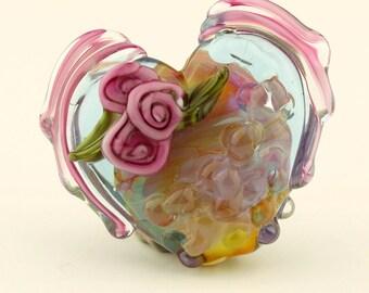 Lampwork Glass Focal Winged Heart Bead, Iridescent Pink Purple Blue  SRA