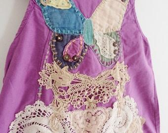 girls handmade dress, girls applique dress, age 4 dress, girls age 4 dress, girls lace dress, girls purple dress, girls boho dress