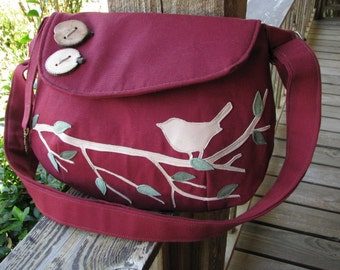 Small SINGING BIRD on a Branch Tote/  Cranberry Canvas /Handbag /Eco Friendly /Messenger/ 17 Colors Available