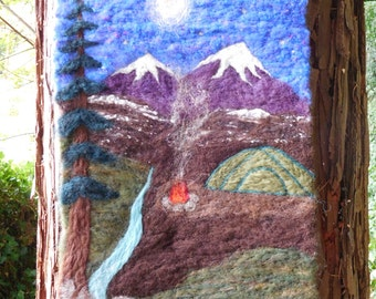Wilderness Campsite - Felted Wool Wall Hanging