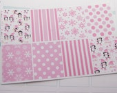 Winter Full Box Stickers Penguins Snowflakes in Pink PS159e Fits Erin Condren