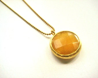 22K gold plated chain necklace with yellow, mustard Jade stone in gold plated frame, bridesmaid, graduation, birthday, mother's day, boho