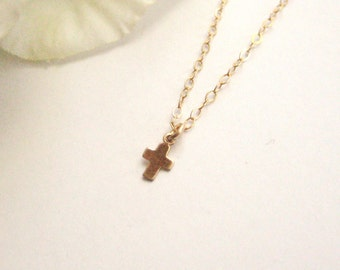 Tiny gold filled Cross charm with gold filled chain, spiritual, gift, bridesmaid, layering