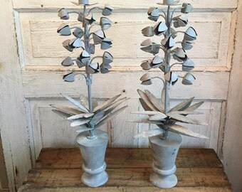 Hand Painted Metal Candle Holders