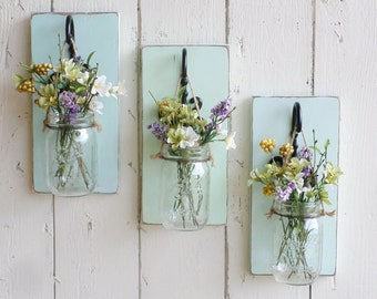 NEW...Rustic Farmhouse... Wood Wall Decor...Set of 3 Individual Hanging Mason Jars...Your Choice of Color