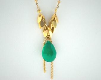 soldes necklace floralies green emerald color women gift apach luxury pierre semi precieuse natural emeraude vert briolette love - 45 Ans De Mariage Pierre Precieuse