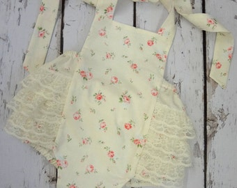End of summer Clearance Ready to ship size 3-6months Ecru Rosebud Sunsuit Shabby chic,