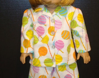 "18 Inch Doll Clothes/Lollipop Lollipop/Flannel pajamas and slippers/READY TO SHIP/4piece set fits 18"" girl doll"