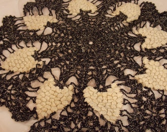 Rare Vintage 3D Pineapple Black Doily, Beautiful Hand Crocheted  Lace Table Doily, Delicate Tiny Stitches, Vintage Antique Table Dressing