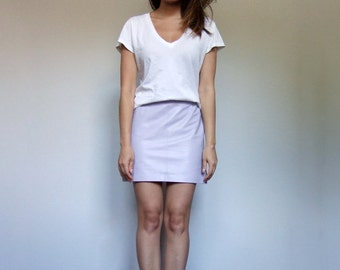 Leather Mini Skirt Vintage Pastel Purple Lilac Skirt 90s Leather Skirt - Extra Small XS