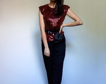 Red Sequin Top Vintage Black Sleeveless Holiday Party 80s Blouse - Small S