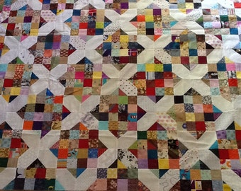 Scrappy X Unfinshed Quilt Top #2