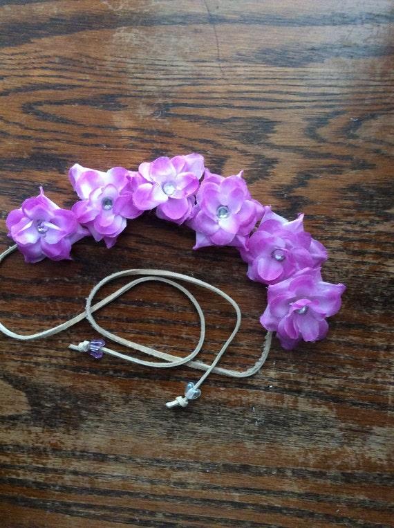 Pretty Purple Flower Headband with Rhinestones