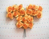 Yellow Orange Paper Millinery Flowers, Large Sized, Roses (18)