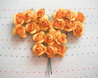 """Yellow Orange Paper Millinery Flowers, Large Sized Roses, 1 1/2"""" (18)"""