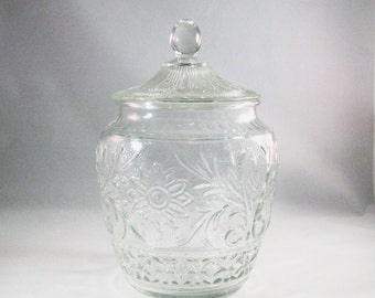 Vintage Glass Cookie Jar, Sandwich Glass Tiara Pattern