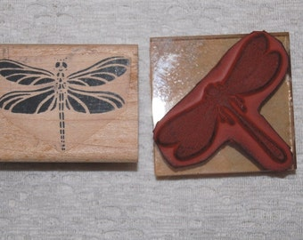 Dragonfly Rubber Stamps - two different, used