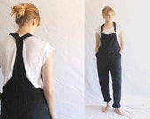 vintage black overalls mended boro style repaired
