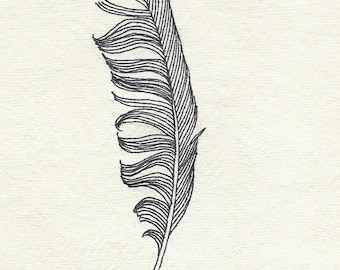 Original ink feather drawing ~ messy black feather