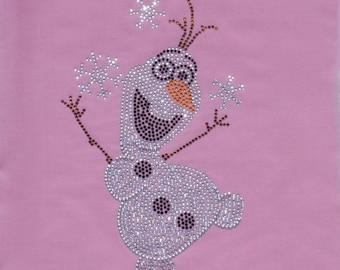 Frozen OLAF bling iron on rhinestone TRANSFER for Disney t-shirt