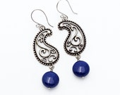 Silver Pearl Earrings Vintage Oxidized Silver Plate Paisley Filigree Swarovski Crystal Coin Pearls Dark Lapis Blue Gypsy Boho Victorian OOAK
