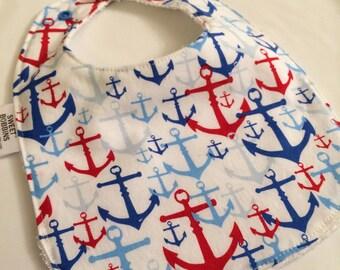 Anchors -  Infant or Toddler bib - ADJUSTABLE snaps - REVERSIBLE