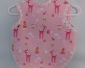 Pink baby bib/bapron for baby girl or toddler girl in pink with baby deer in hot pink, pink terry cloth back 6-18 months