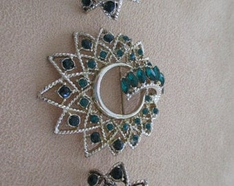 vintage costume jewelry  /  earrings brooch