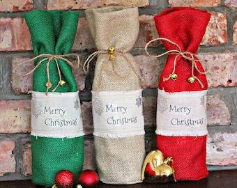 Burlap Hessian Christmas Wine Bottle Gift Bag with Bells on