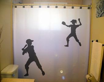 Children Kids Softball Shower Curtain Shared Baseball Bathroom Decor Sports Siblings Brother Sister