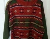 Cherokee olive southwest sweater jumper pullover boho grunge 1980s women large