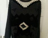 heavy knit men's sweater XL Forum leather trim 1980s punk boho