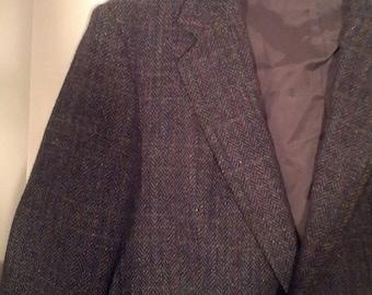 SALE Hill and Archer wool tweed suit herringbone plaid tartan 80s coat jacket knit blazer 44 44r grunge Mad Men boho