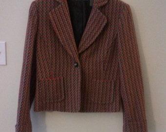 Liz Claiborne boho blazer hippie cropped jacket Large grunge punk bohemian beatnik size 12 38 40