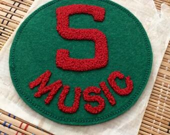 Vintage Chenille Letterman Style Patch:  Music (r)