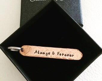 Personalised copper 7th anniversary narrow keyring tag, customised tag plus ring. Perth, Western Australia