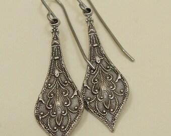 Silver earrings, vintaj earrings, Downton Abby style earrings, elegant earrings, silver plate