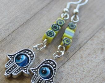 hamsa hand evil eye earrings,hand of Fatima dangle earrings,yellow millifiori flower beads,evil eye earrings,hamsa hand earrings,yellow bead
