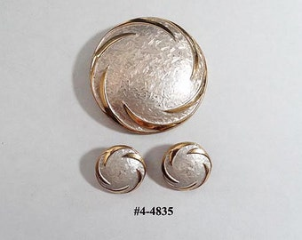 FREE SHIP Pastelli Silver and Gold Brooch With Matching Earrings (4-4835-38)