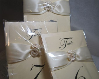 Table Numbers - Wedding Table Numbers - Elegant Satin Rose and Pearl Table Numbers - Custom Table Numbers - Customize to your colors