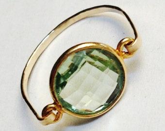 Green Amethyst Ring   Green Amethyst Gemstone Ring  Peridot Color Gemstone Ring  August Birthstone
