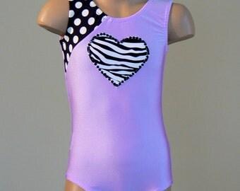 Gymnastics Leotard. Dance Leotard. Leotard with Heart Applique. Dancewear. SIZES 2T - Girls 12