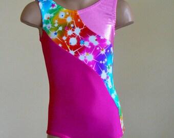 Gymnastics Leotard with a Multicolored Star Print Insert. Dance Leotard. Toddlers Girls Leotard. SIZES 2T - Girls 10