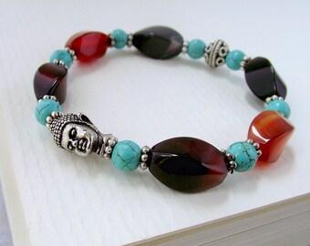 Buddha bracelet, beaded bracelet, gemstone bracelet